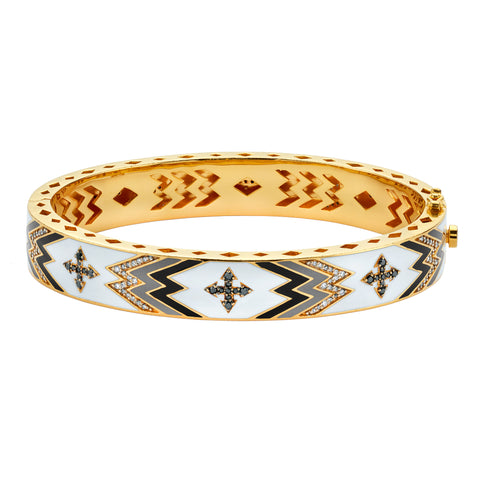 Gold Enamel White Diamond Cross Bangle by Buddha Mama for Broken English Jewelry