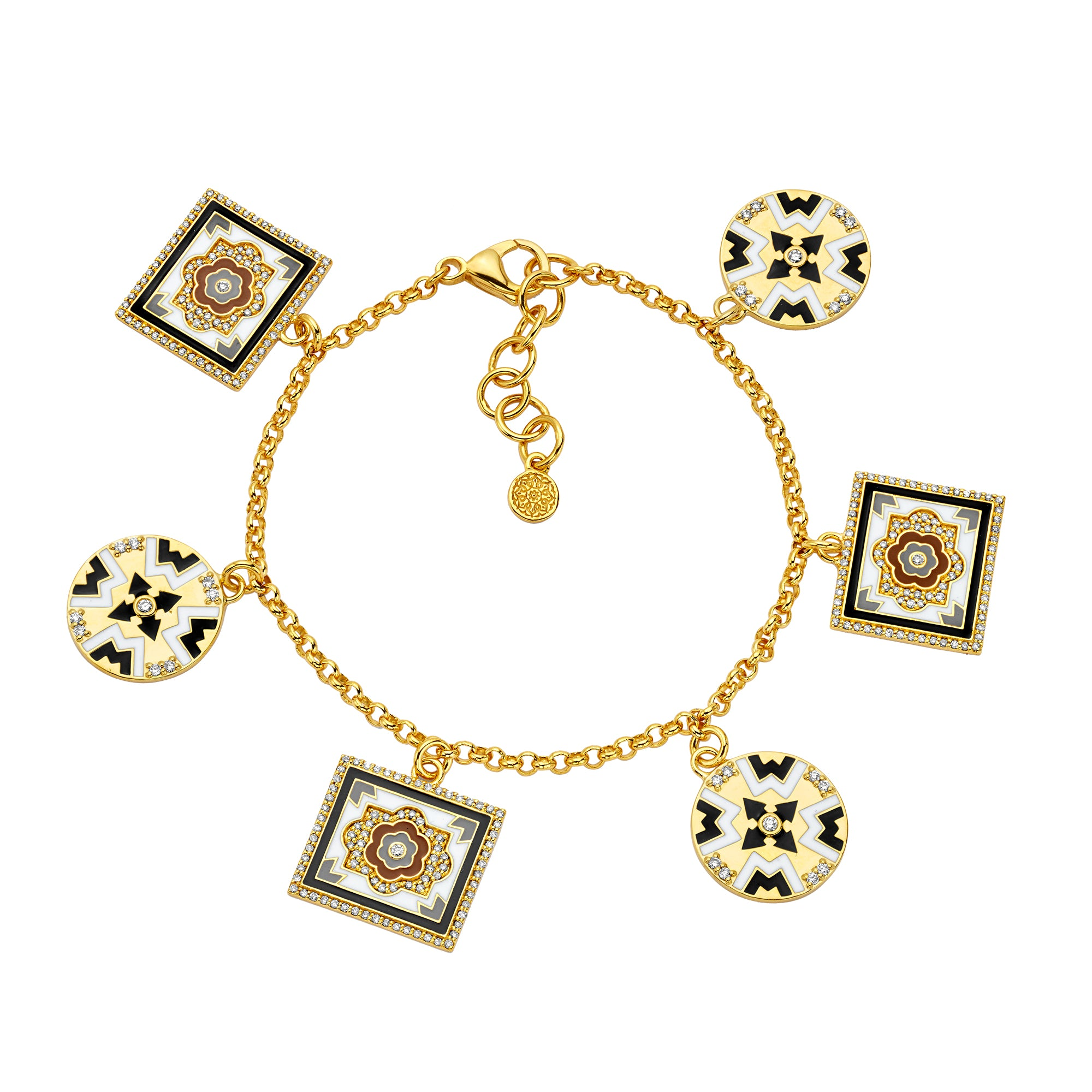 Gold Enamel White Diamond Tile Charm Bracelet by Buddha Mama for Broken English Jewelry
