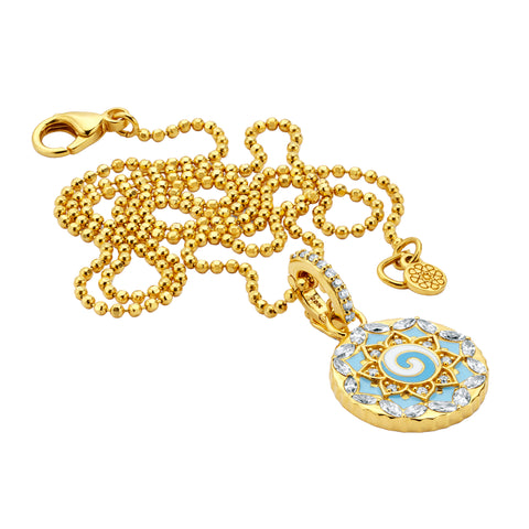 Gold Enamel White Diamond Sky Blue Swirl Pendant