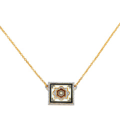 Gold Enamel White Diamond Small Square Tile Necklace by Buddha Mama for Broken English Jewelry