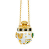 Gold Opal Enamel White Diamond Lucky Perfume Bottle Necklace by Buddha Mama for Broken English Jewelry