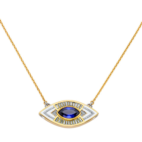 Gold Enamel White Diamond & Tanzanite Lantern Eye Pendant by Buddha Mama for Broken English Jewelry