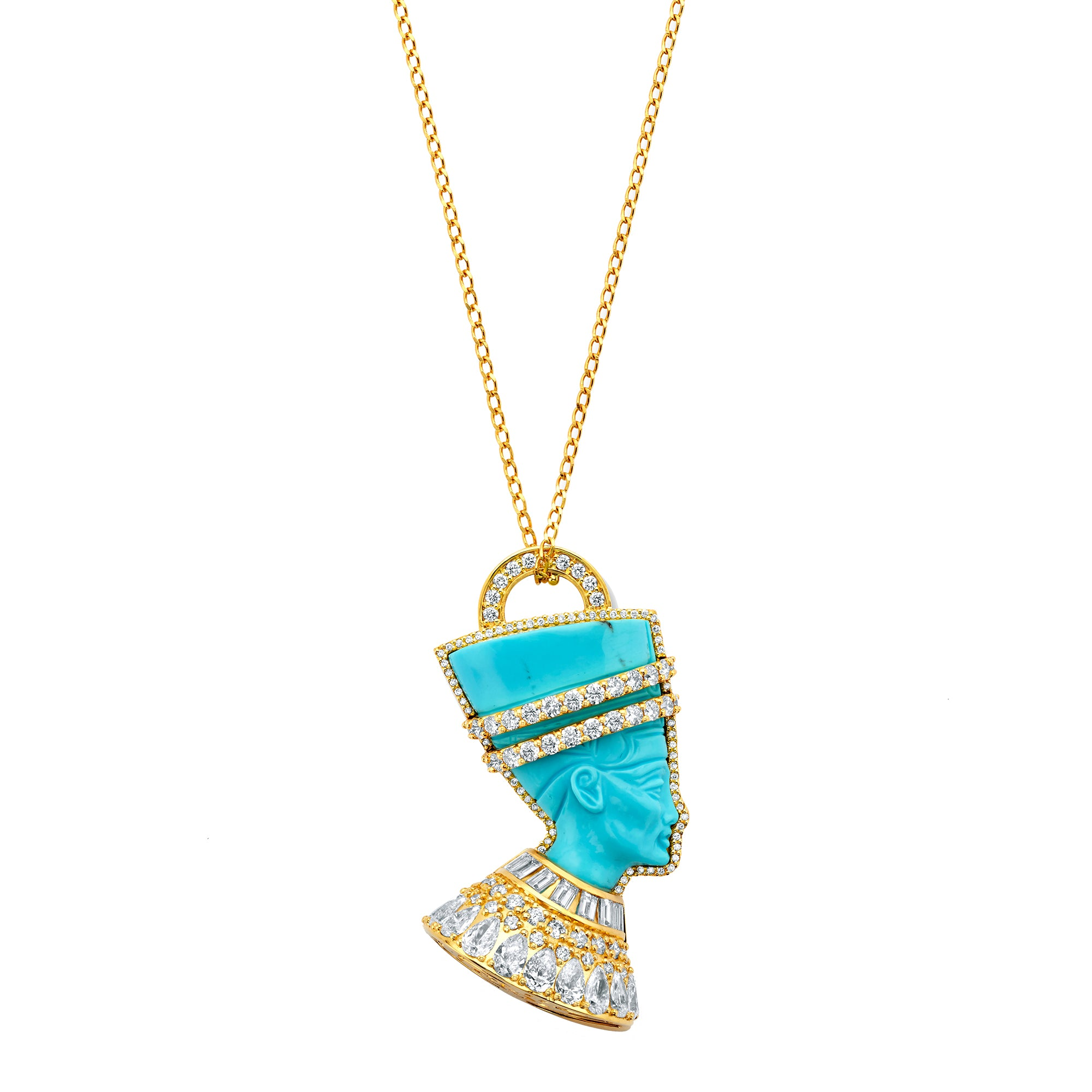 Gold Wite Diamond Turquoise Sleeping Beauty Nefertiti Pendant by Buddha Mama for Broken English Jewelry