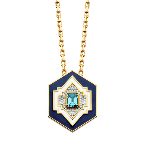 Gold White Diamond Enamel Blue Topaz Lantern Pendant by Buddha Mama for Broken English Jewelry