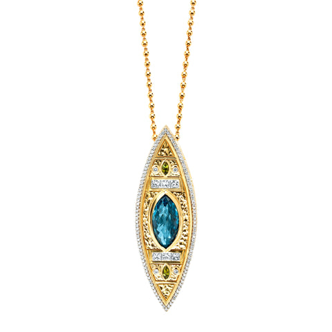 Gold Topaz White Diamond Tourmaline Hammered Lantern Marquise Pendant by Buddha Mama for Broken English Jewelry