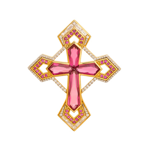 Rubellite Cross Necklace by Buddha Mama for Broken English Jewelry