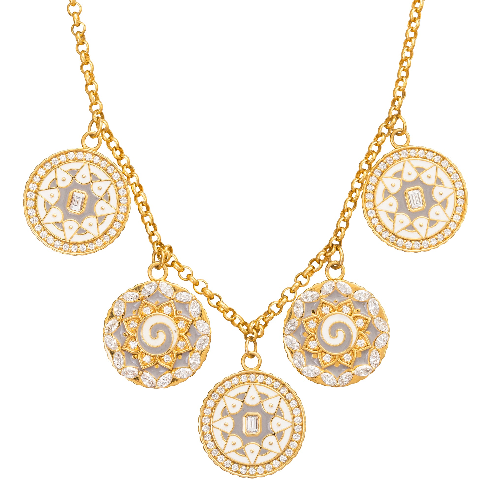 Gold Enamel White Diamond 5 Mandala Coin Necklace by Buddha Mama for Broken English Jewelry
