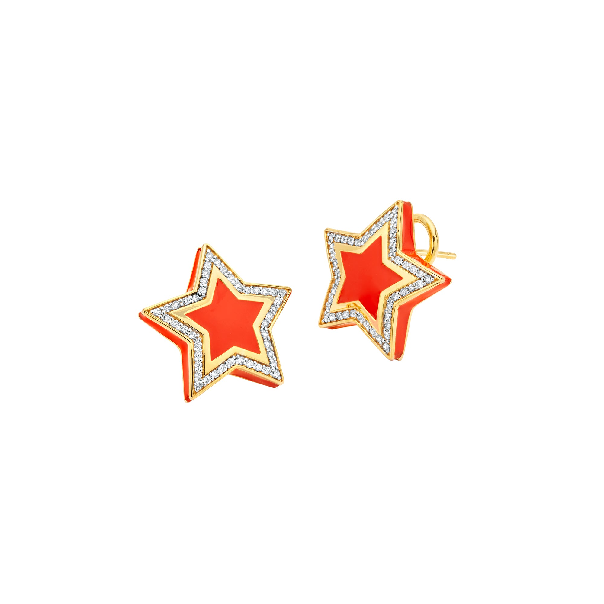 Gold White Diamond & Enamel Star Studs by Buddha Mama for Broken English Jewelry