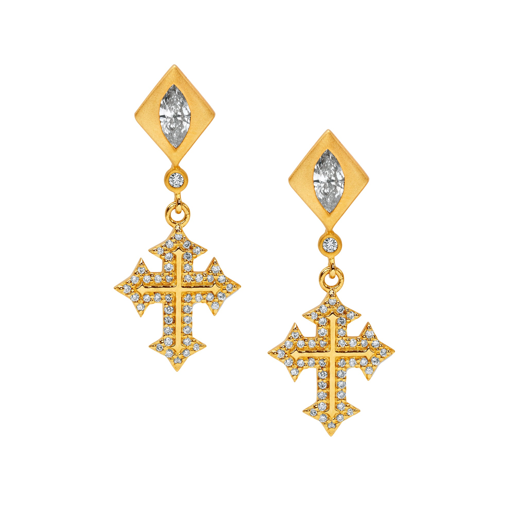 Gold & White Diamond Dainty Cross Earrings by Buddha Mama for Broken English Jewelry