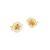 Gold Enamel & White Diamond Hexagon Star Studs by Buddha Mama for Broken English Jewelry