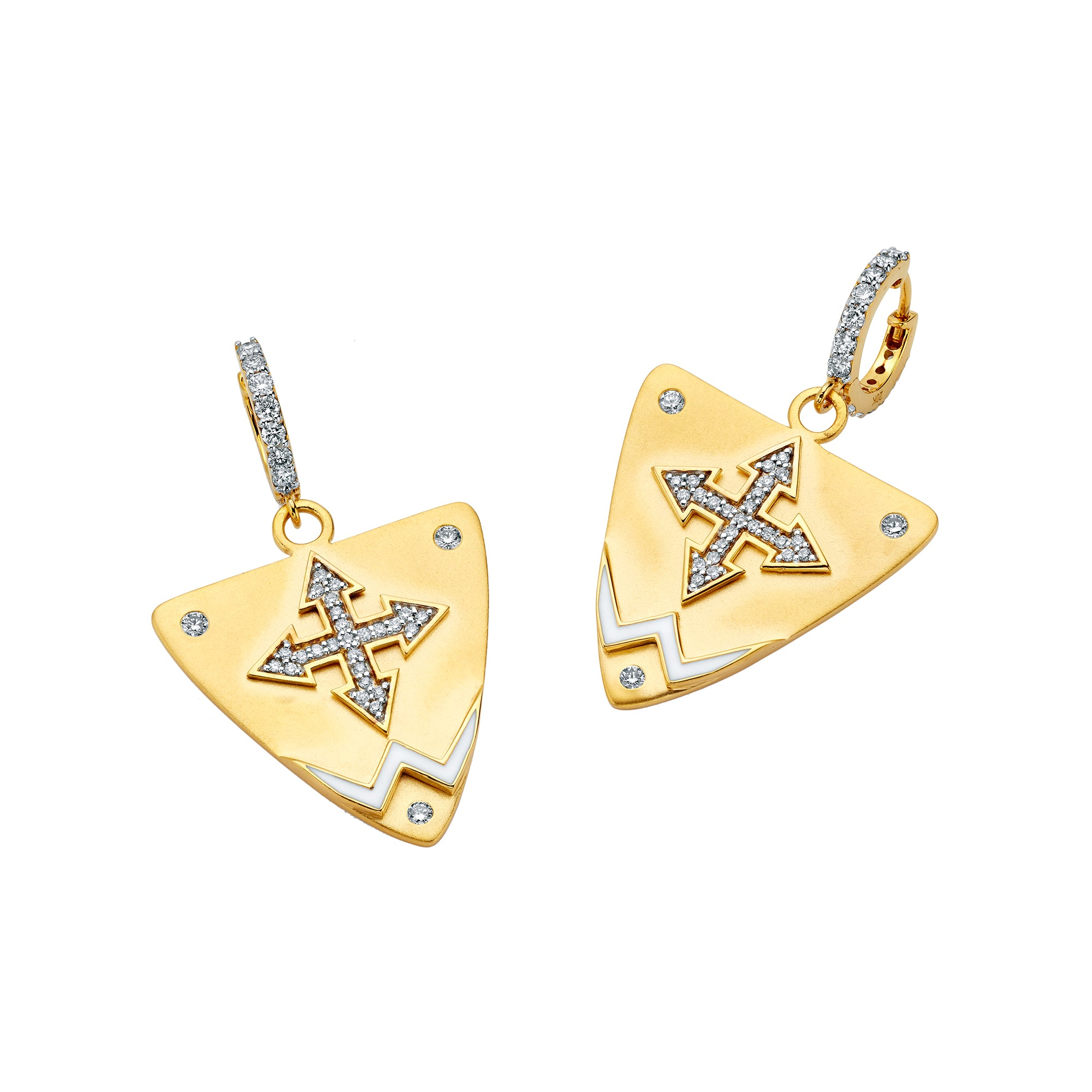 Gold Enamel White Diamond Guitar Pick Cross Earrings by Buddha Mama for Broken English Jewelry