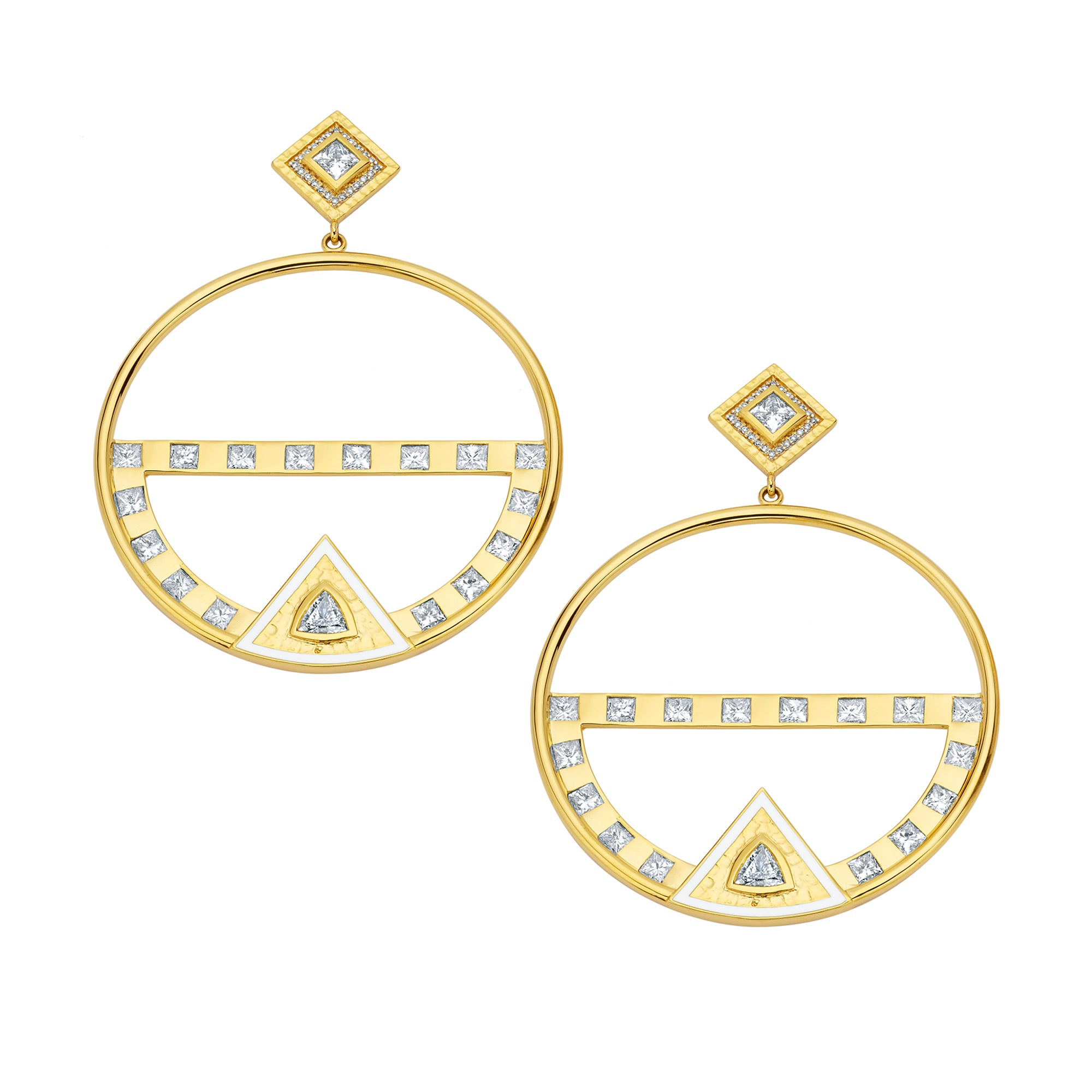 Gold & White Diamond Trillion Hammered Hoop Earrings by Buddha Mama for Broken English Jewelry