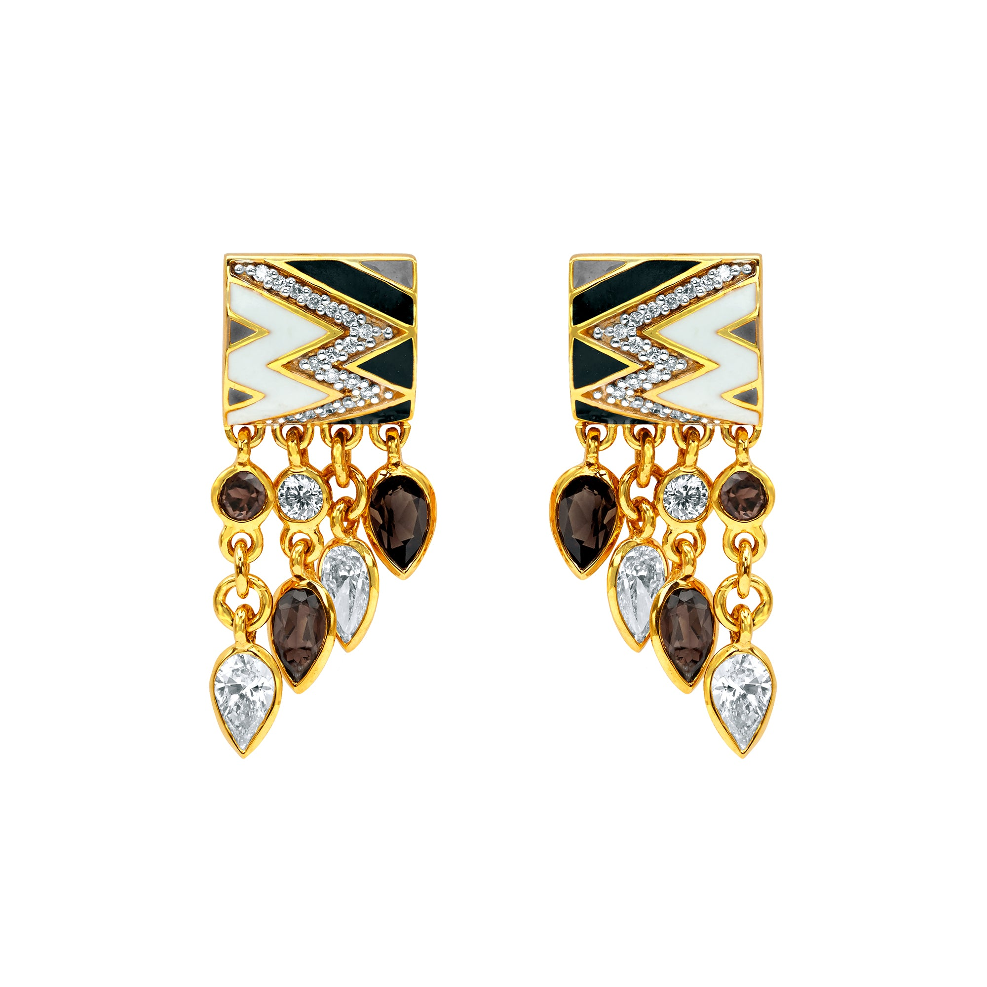 Gold Diamond Quartz Enamel Earcuffs by Buddha Mama for Broken English Jewelry