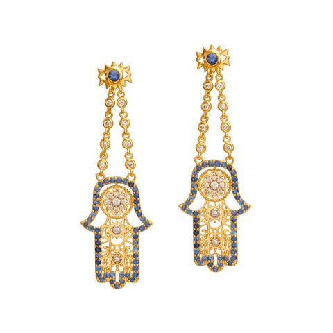 Aquamarine Hamsa Earrings by Buddha Mama for Broken English Jewelry