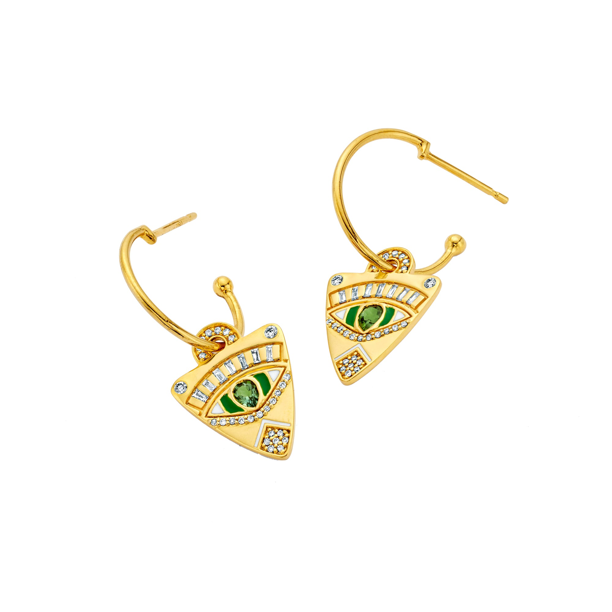 Gold Enamel Tourmaline & White Diamond Guitar Pick Hoop Earrings by Buddha Mama for Broken English Jewelry