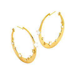 Gold White Enamel Star Hoops by Buddha Mama for Broken English Jewelry