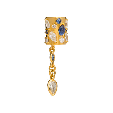 Sapphire and Diamond Ear Cuff by Buddha Mama for Broken English Jewelry
