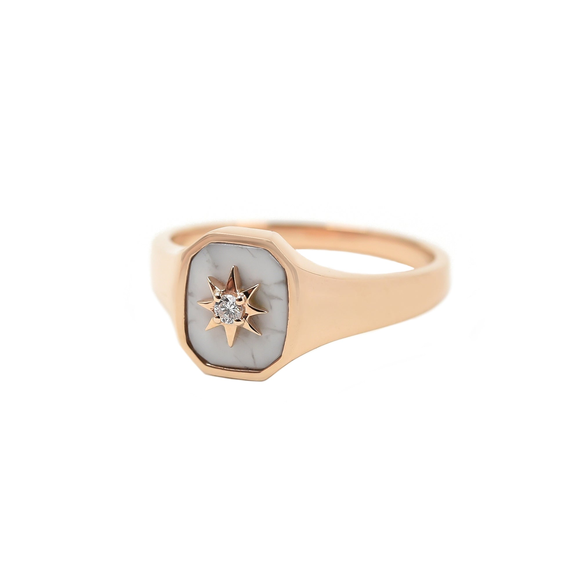 Howlite Josie Signet Ring - Bondeye - Ring | Broken English Jewelry
