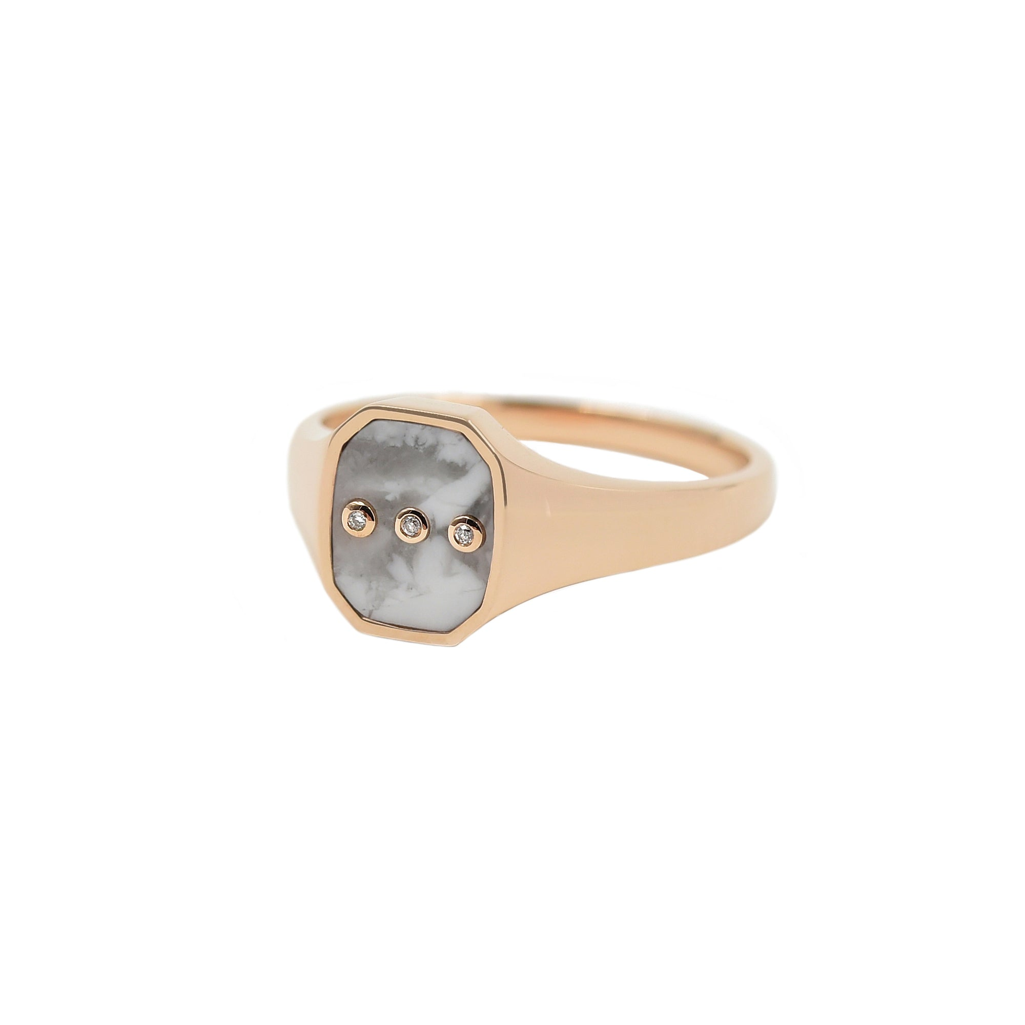 Howlite Melody Signet Ring - Bondeye - Ring | Broken English Jewelry