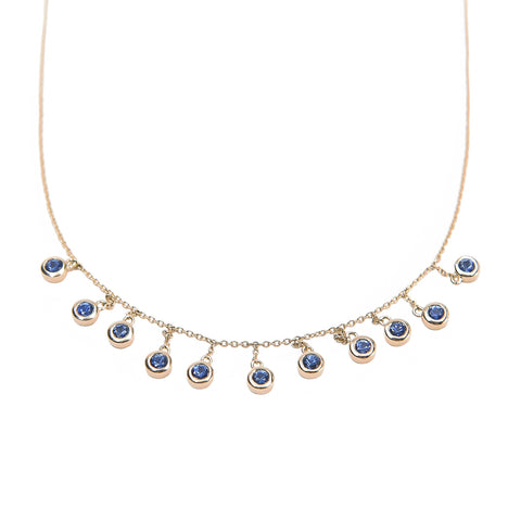 Blue Sapphire Droplet Necklace - Bondeye - Necklace | Broken English Jewelry
