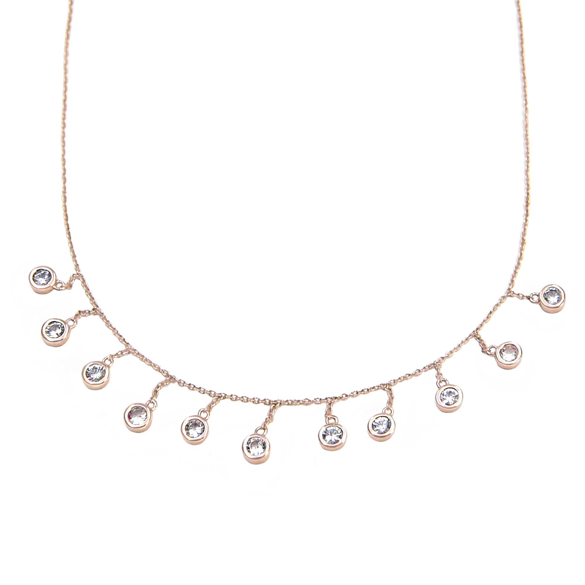 Bondeye White Sapphire Droplet Necklace - Rose Gold - Necklaces - Broken English Jewelry