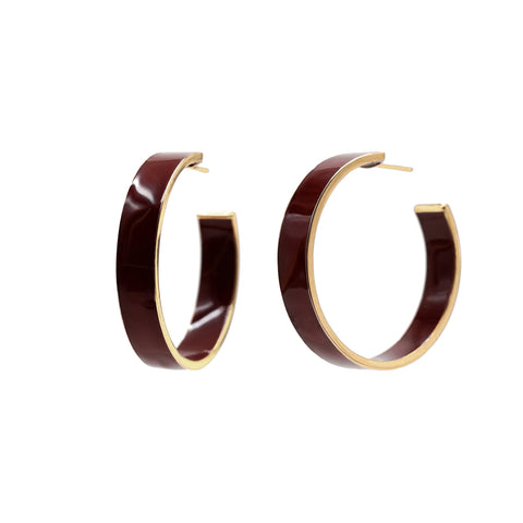 Burgundy Chrissy Hoops - Bondeye - Earrings | Broken English Jewelry