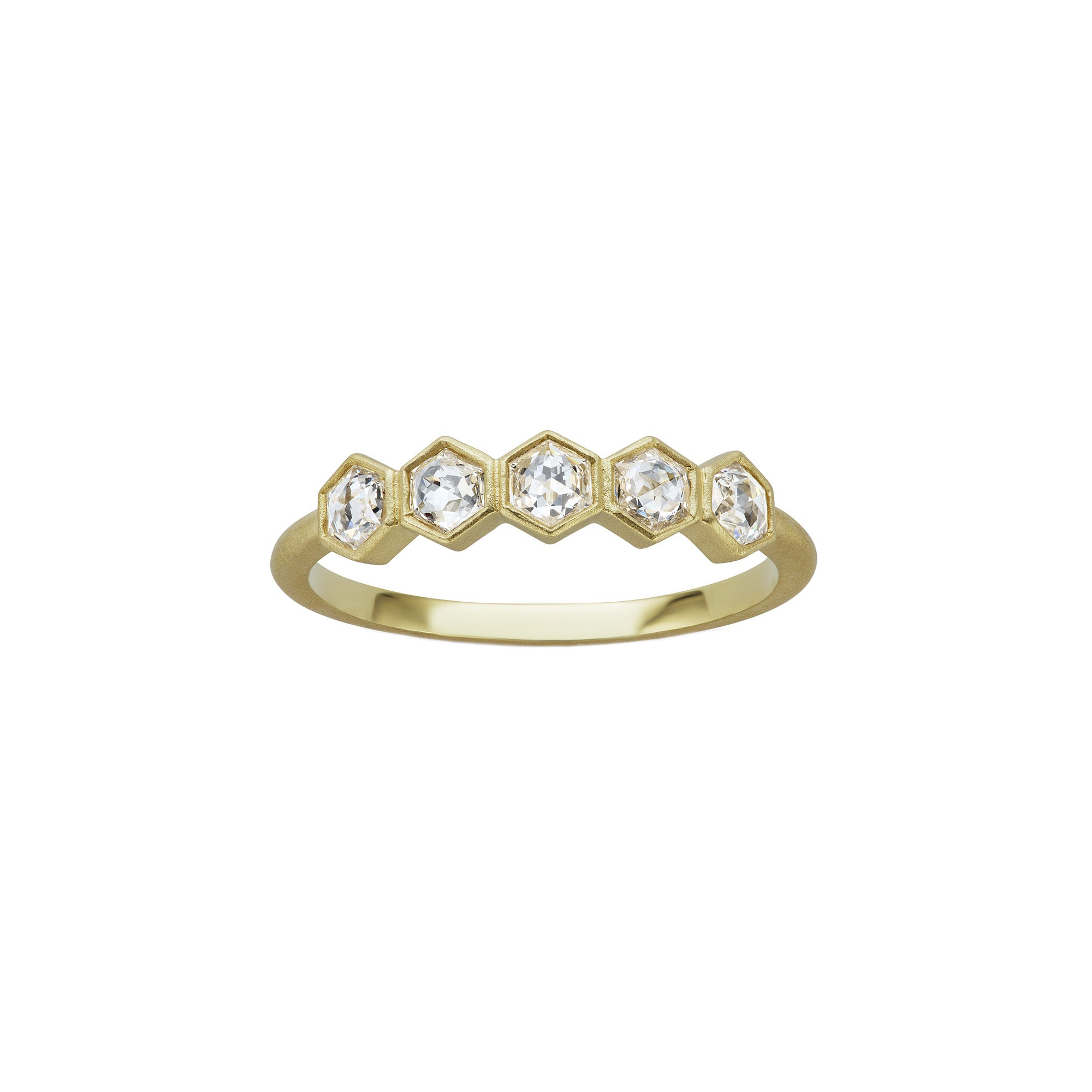 Michelle Fantaci Hexagonal Diamond Band - Rings - Broken English Jewelry