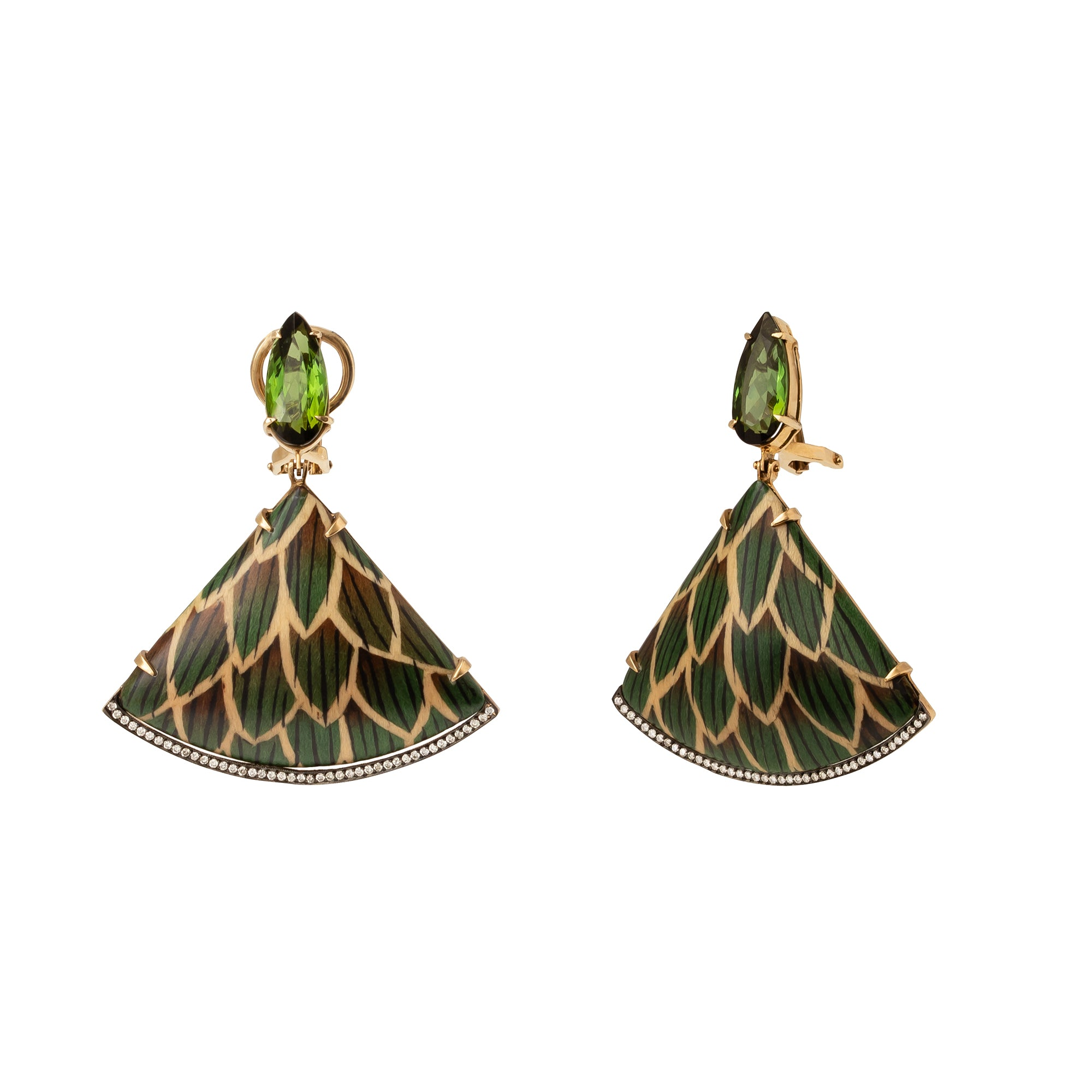 Marquetry Fan Drop Earrings - Silvia Furmanovich - Earrings | Broken English Jewelry