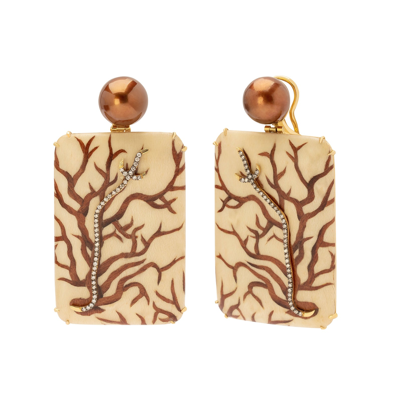 Silvia Furmanovich Marquetry Coral Earrings - Earrings - Broken English Jewelry