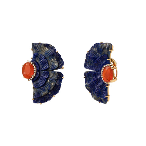 Sculptural Botanical Carved Lapis Gingko Earrings - Silvia Furmanovich - Earrings | Broken English Jewelry