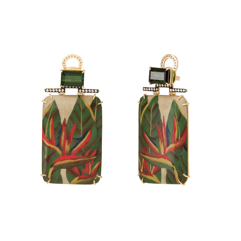 Emerald and Helconia Marquetry Earrings - Silvia Furmanovich - Earrings | Broken English Jewelry