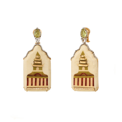 Marquetry Green Pagoda Earrings - Silvia Furmanovich - Earrings | Broken English Jewelry