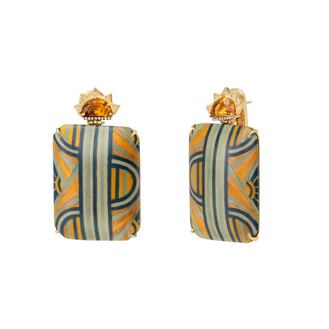 Marquetry Blue & Yellow Rectangular Earrings - Silvia Furmanovich - Earrings | Broken English Jewelry