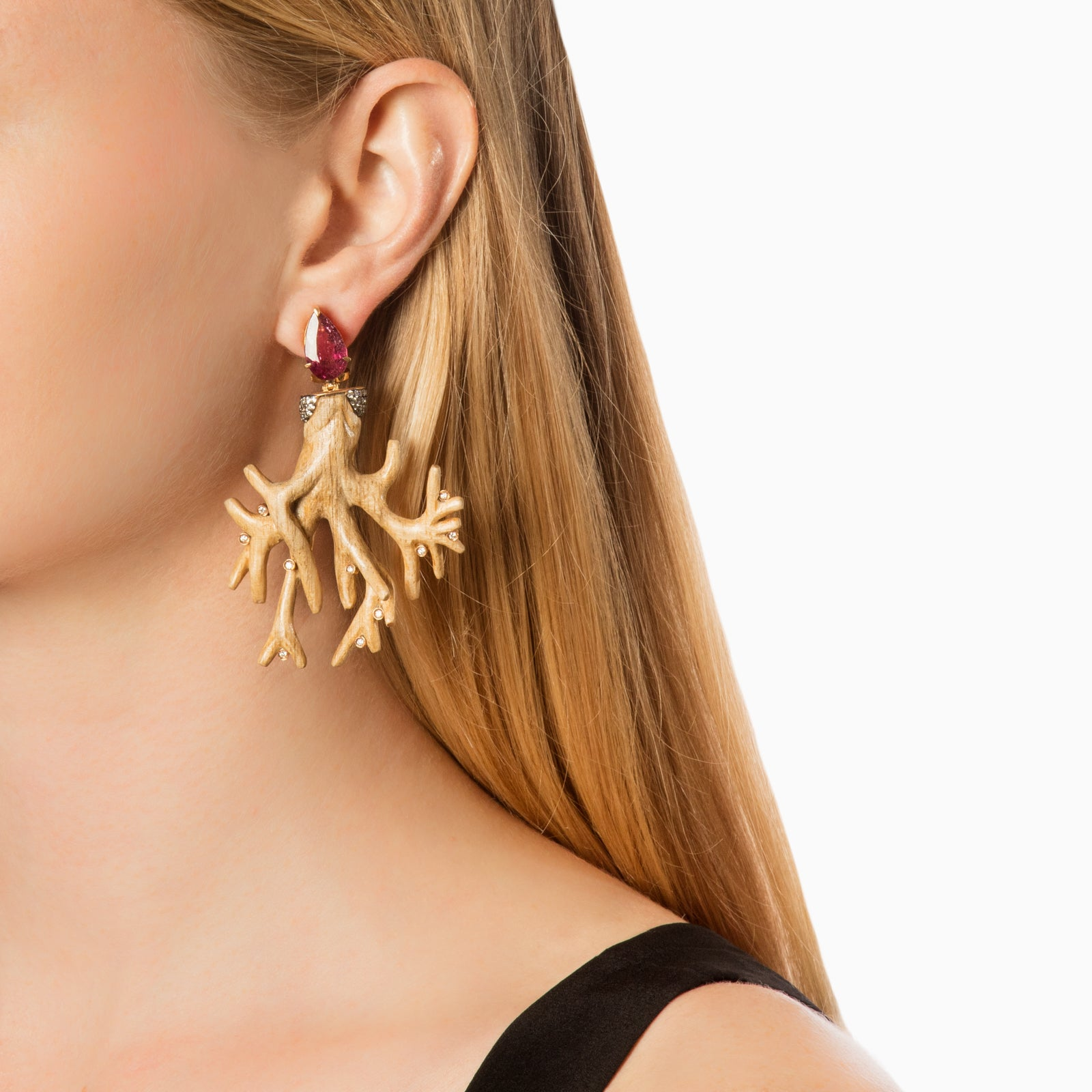 Silvia Furmanovich Botanical Coral Branch Earrings - Earrings - Broken English Jewelry