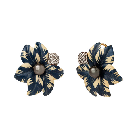Sculptural Botanical Marquetry Blue & White Flower Earrings - Silvia Furmanovich - Earrings | Broken English Jewelry