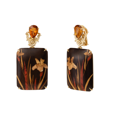 Iris Flower Rectangle Marquetry Earrings - Silvia Furmanovich - Earrings | Broken English Jewelry
