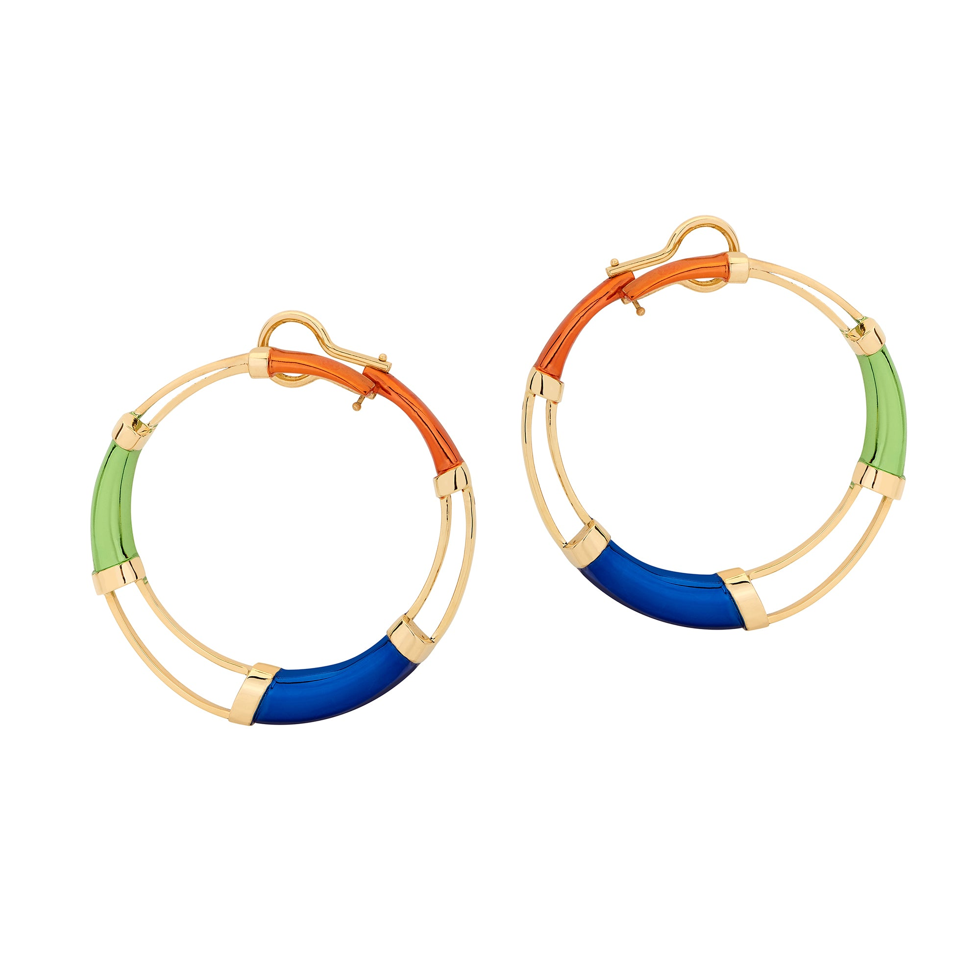 Red Multi Color Hoop Earrings - Carol Kauffman - Earrings | Broken English Jewelry