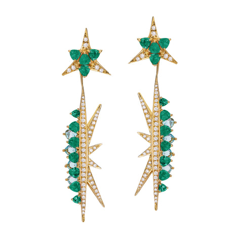 Galactic Electra Emerald Earrings - Carol Kauffman - Earrings | Broken English Jewelry