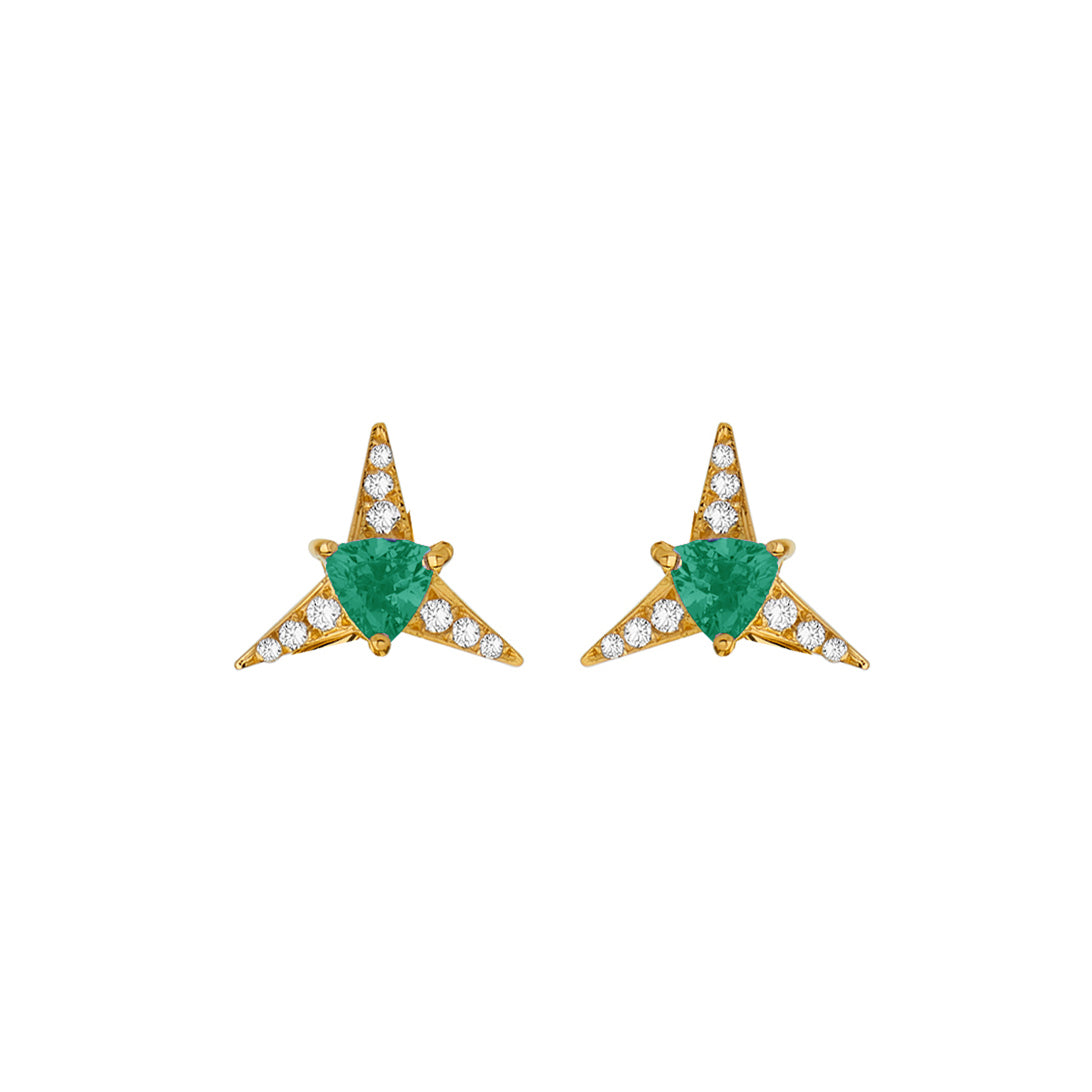 Emerald Galactic Star Stud Earrings - Carol Kauffman - Earrings | Broken English Jewelry