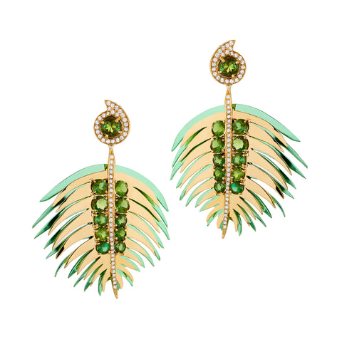 Green Palm Earrings - Carol Kauffman - Earrings | Broken English Jewelry