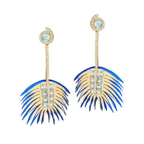 Blue Long Palm Earrings - Carol Kauffman - Earrings | Broken English Jewelry