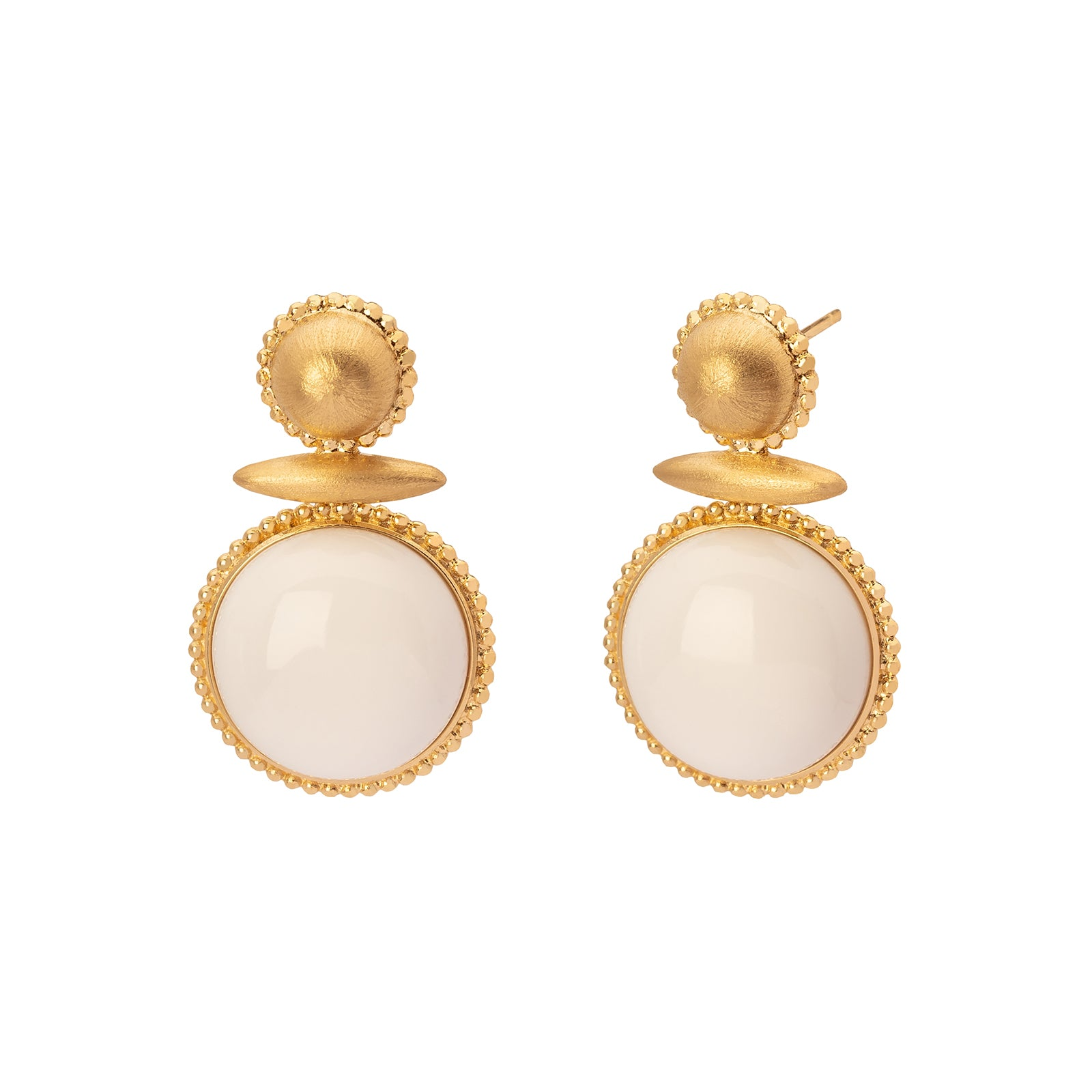 Carla Amorim Gelo Earrings - White Agate - Earrings - Broken English Jewelry