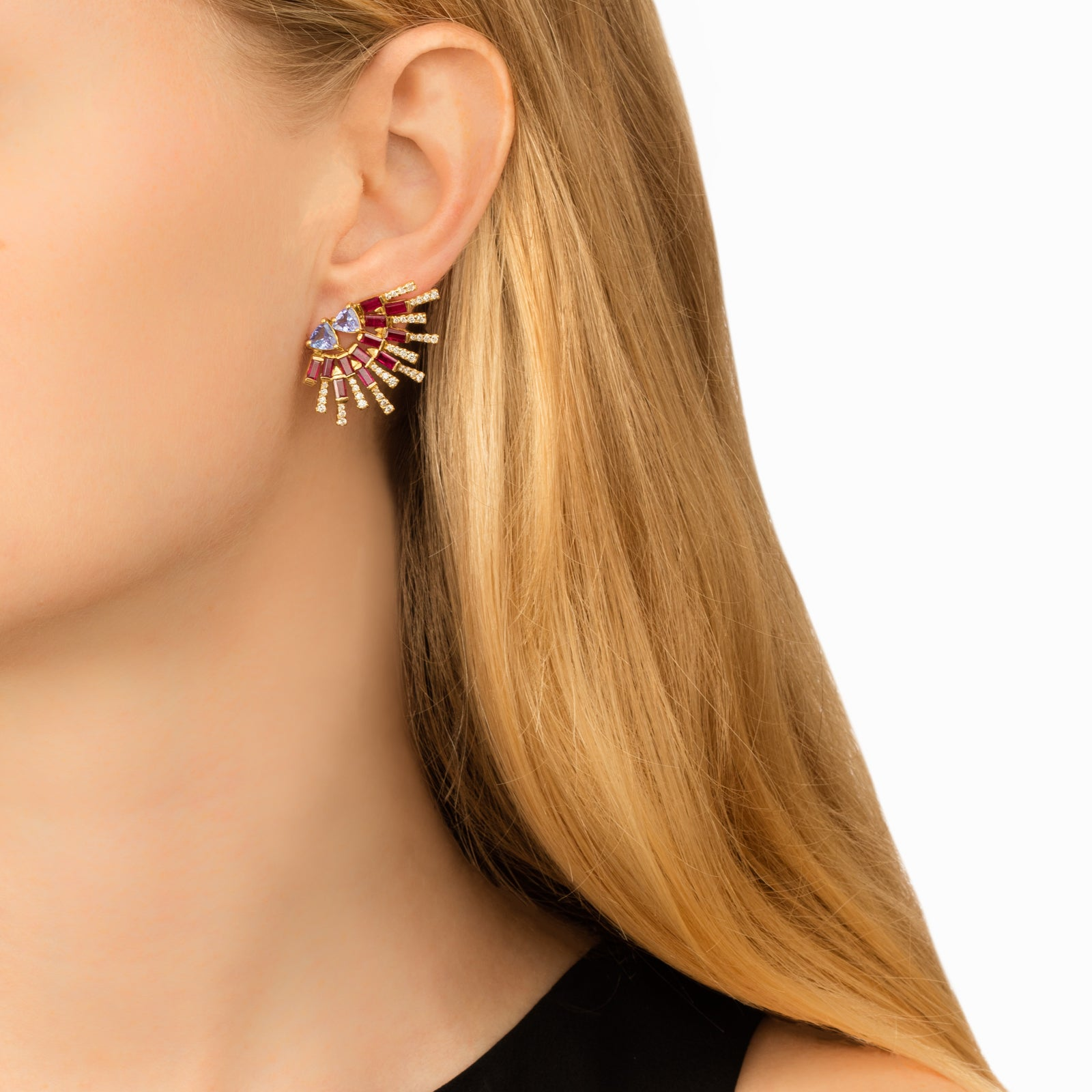 Ruby Sunshine Earrings - Carol Kauffman - Earrings | Broken English Jewelry