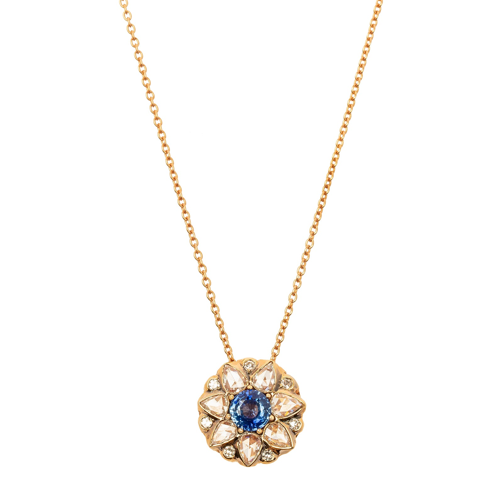 Selim Mouzannar Beruit Necklace - Blue Sapphire & Mixed White Diamond - Necklaces - Broken English Jewelry