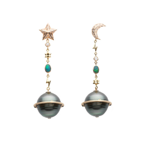 Galaxy Planet Earrings - Bibi van der Velden - Earrings | Broken English Jewelry
