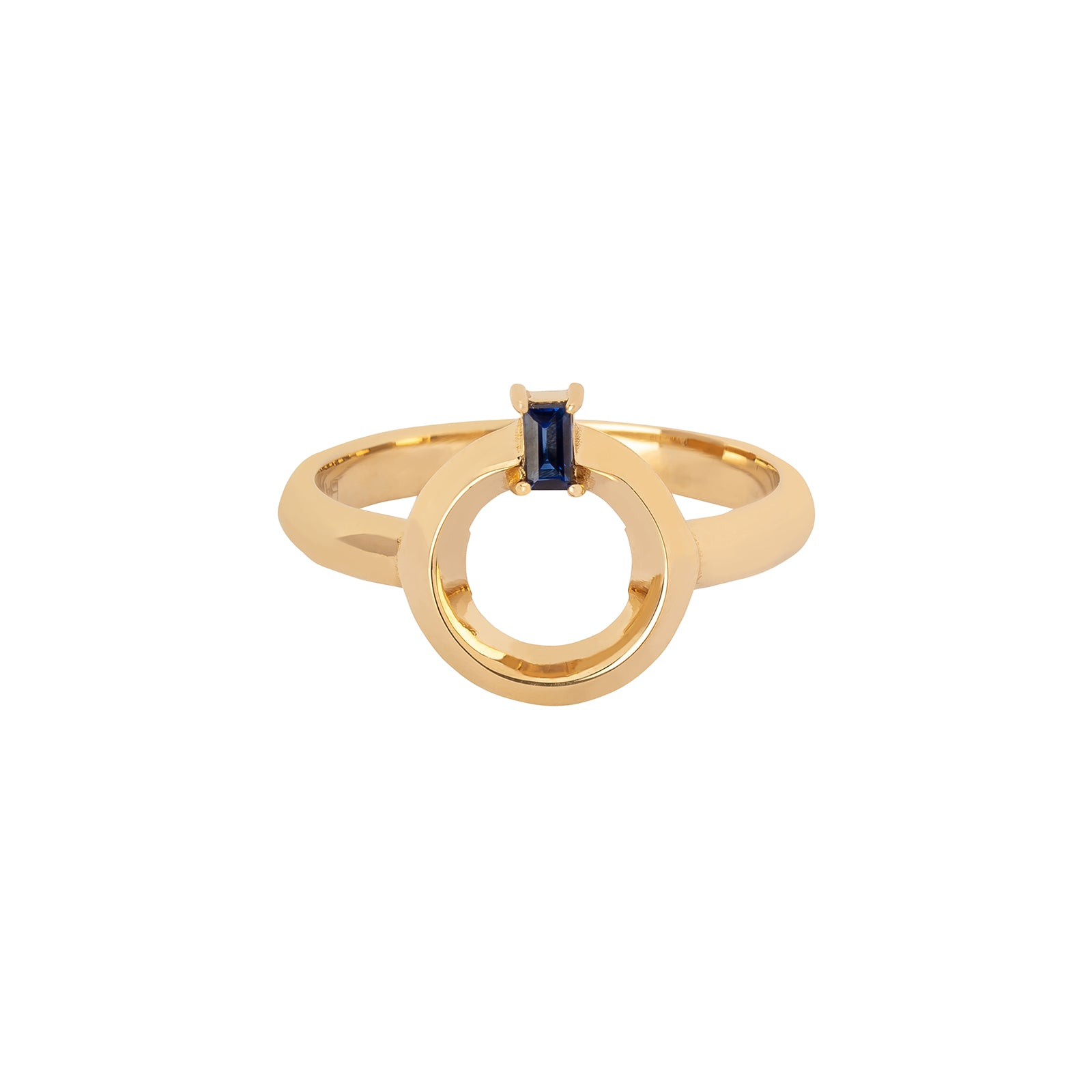 BaYou with Love Baguette Knife Edge Ring - Sapphire - Rings - Broken English Jewelry