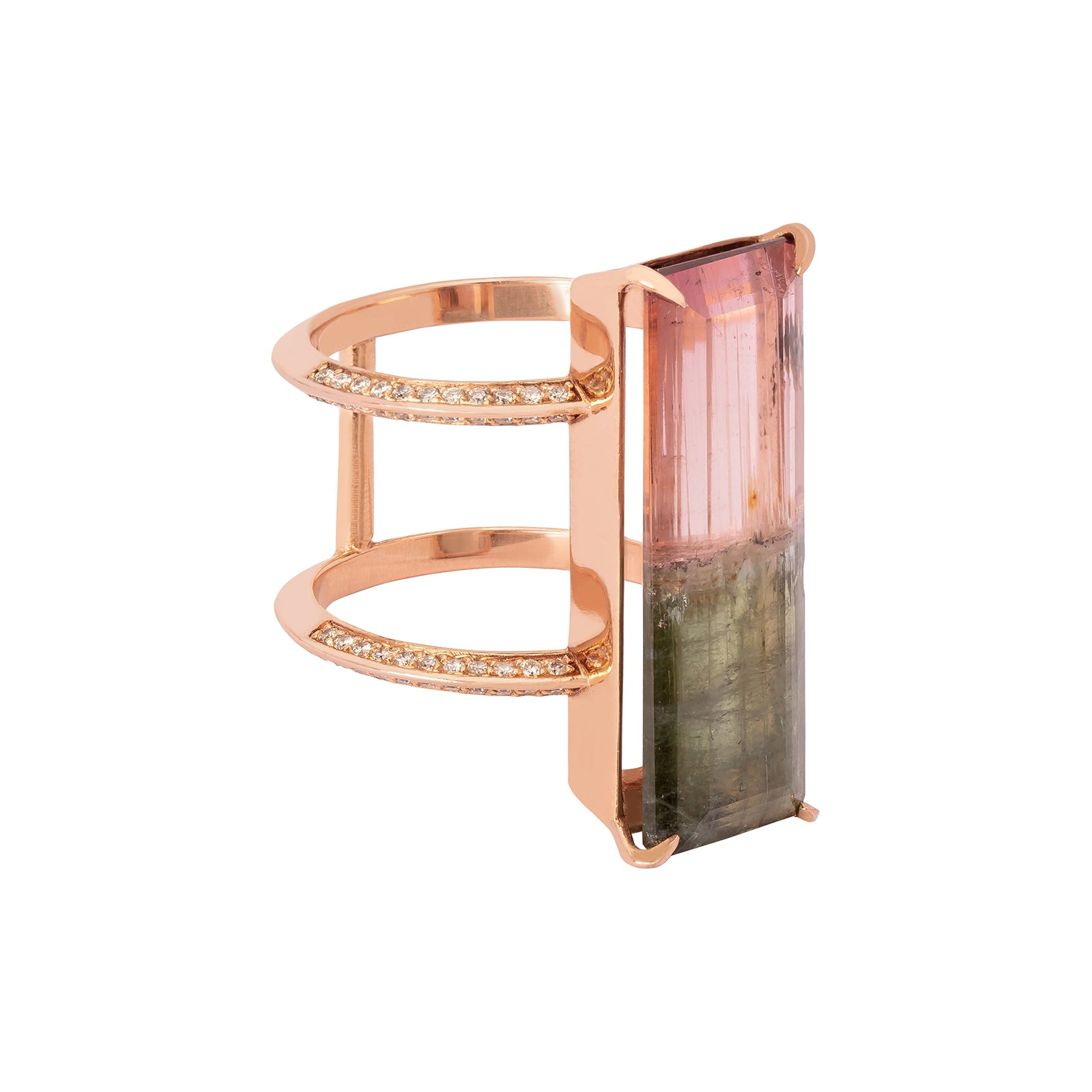 BaYou with Love Rose Gold Bicolor Ring - Tourmaline - Rings - Broken English Jewelry