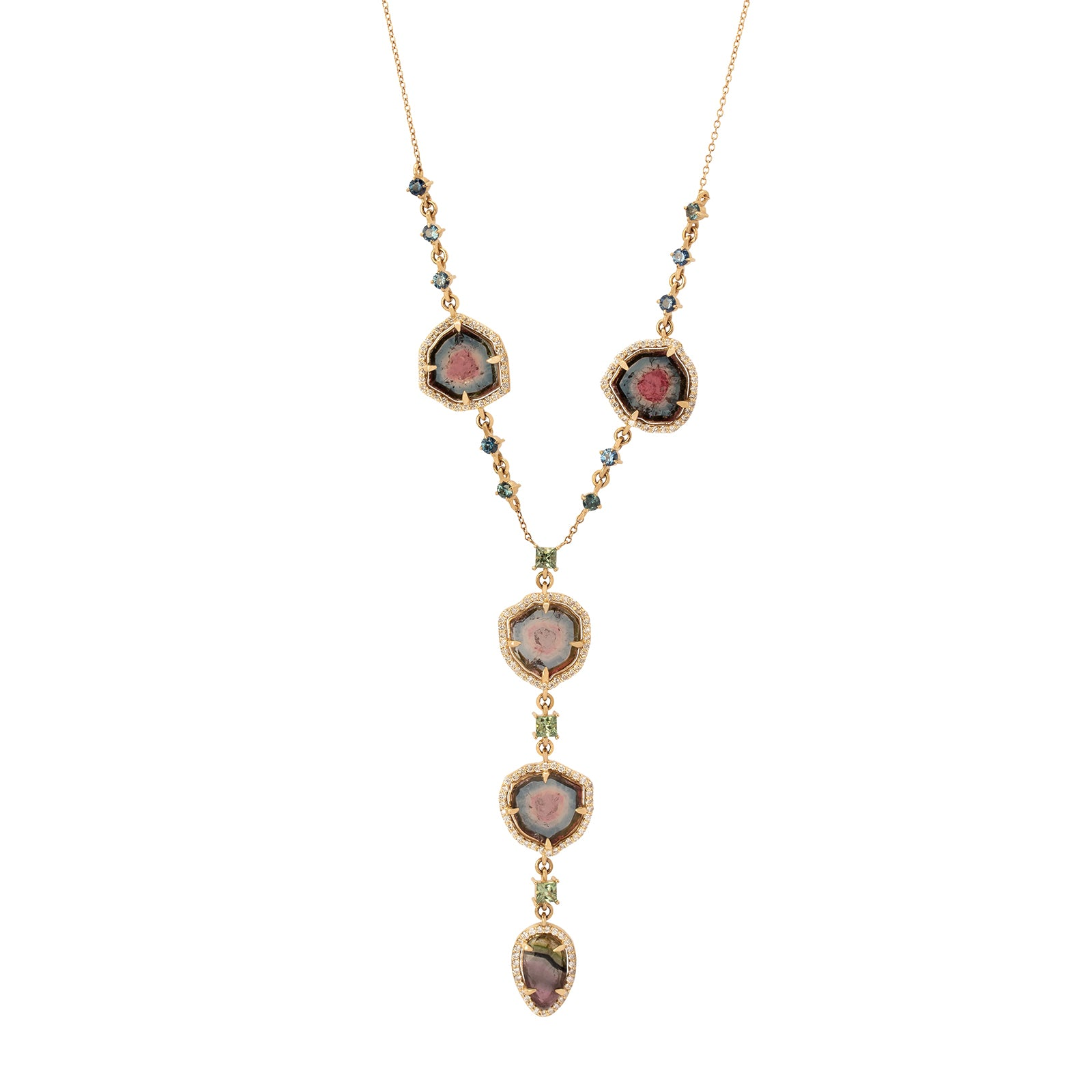 BaYou with Love Lariat Necklace - Watermelon Tourmaline  - Necklaces - Broken English Jewelry