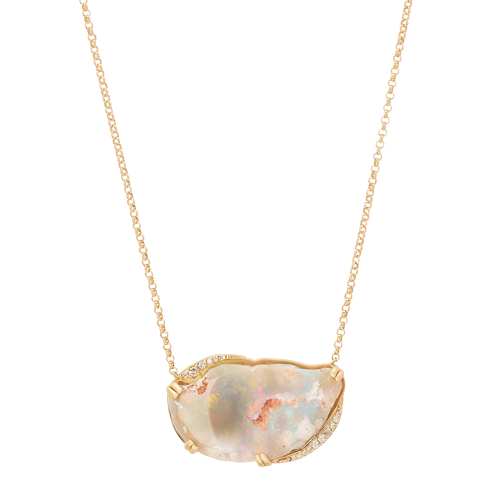 BaYou with Love Half Moon Necklace - Opal - Necklaces - Broken English Jewelry