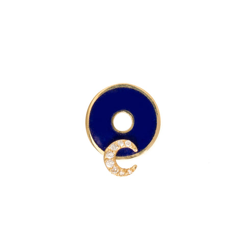 Blue Crescent Disk by Foundrae for Broken English Jewelry